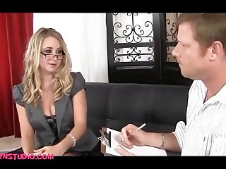 blond office girl comes in for a porn job and gets fucked