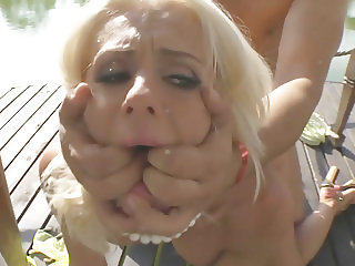 Tricia Teen and Roxana got fucked next to a lake