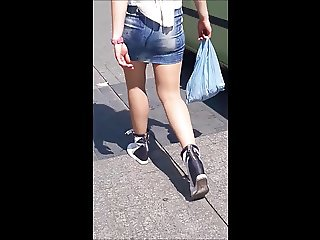 #34 Blonde girl with nice legs in jeans mini skirt