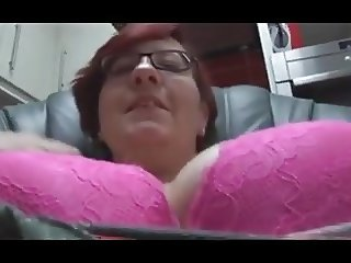 Mature busty BBW poses and strips