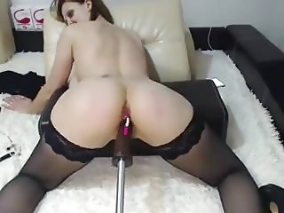 Stockings a fucking machine and spanking
