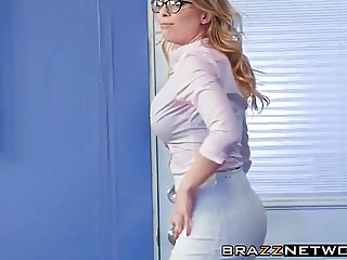 Britney Amber gets oiled up and bangs in the office