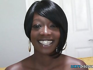 Ebony cutie mouth spermed