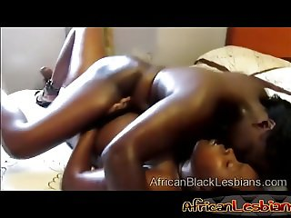 Busty ebony lesbians in steaming hot action