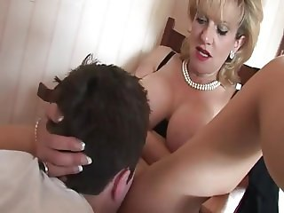 Lady Sonia Seduces Young Lad In Her Pantyhose