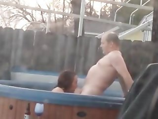 Sex in outdoor Jacuzzi