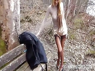 Fisting his hot blond wife in public