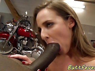 Anally pounded babe enjoys bbc in her ass