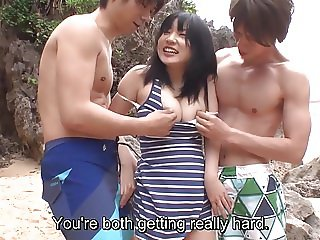 Subtitled uncensored JAV threesome at the beach