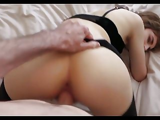Amateur young lady fucked in black pantyhose