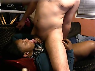 BBW Ebony sucking her asian sexfriend