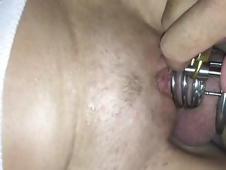 Pet riding caged cock Chastity