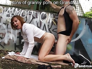 Granny enjoys public sex at the basketball court