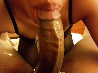 Ebony gal with lots of DANDRUFF tries to swallow a FAT COCK