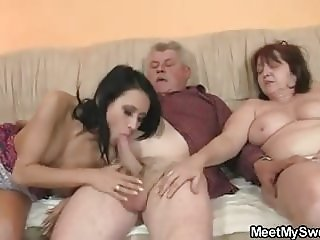 His girlfriend riding old dad's cock!