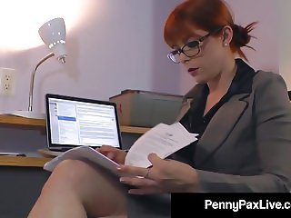Hot Office Temp Penny Pax Stays Late to Masturbate For You!