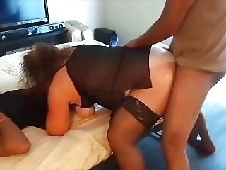 Cheating Whore Wife being double blacked