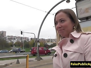 European pickedup beauty takes cum in mouth