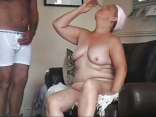 Granny Drinks Cumshot From a Glass