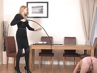 Blonde Mistress whips old man's ass