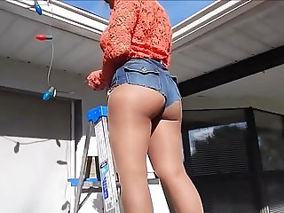 Blonde sexy leg milf mature mom in heels and denim hotpants