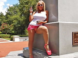 Smoking public upskirts in hooker heels
