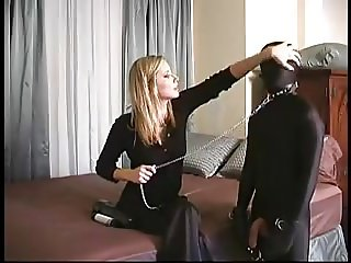 Femdom bondage - young slave abused by blonde mistress