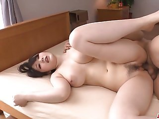 Busty milf Rie Tachikawa tries young cock in her furry pussy