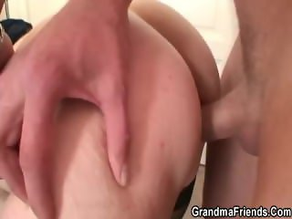 Cock-hungry old granny swallows two cocks