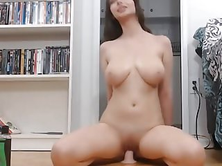 Hot Babe Dildo Riding and Cumming on Cam
