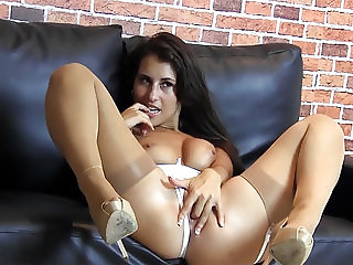 Hot brunette pussy tease in white lingerie nylon stockings