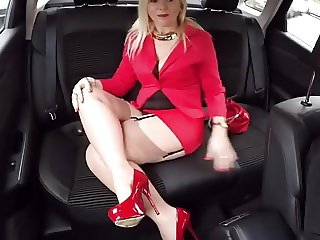 Driver Escorting Provocative Mature Dressed In Red