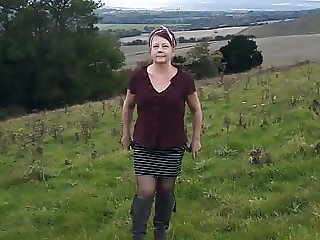 Small Tit MILF's Outdoor Striptease