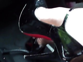 Nylons & heels in car