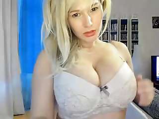 Busty Blond Camgirl Stripping and Dildo Riding