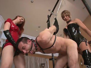 Femdom fuck slave with strapon