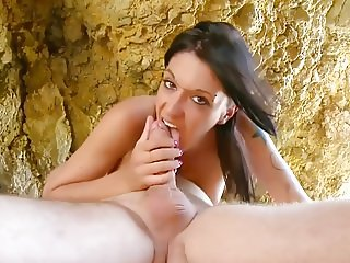 Hot and busty girl has sex on stony beach