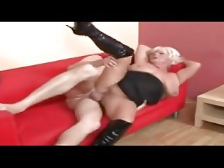 Granny in boots fucking
