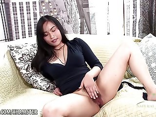 Omrose fingers her tight hairy pussy