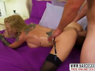 Tattoed Blonde Mother Sarah Jessie In Stockings Gets Step Son