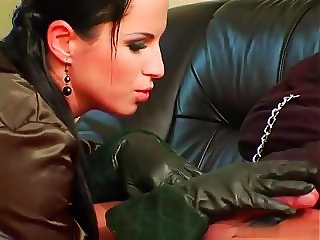 beautiful Mistress Renata Black enjoys her slave boy