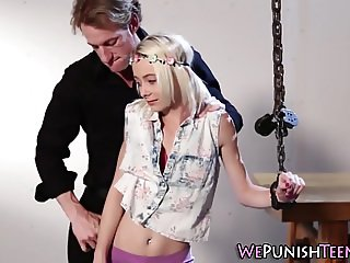 Tiny blonde rough fucked