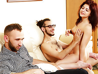 Cuckold cleans up the creamy mess