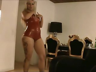 Blonde In Sexy Red Latex Lingerie Fucks