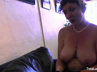 MILF in glasses fucks her stepdaughter in the shop