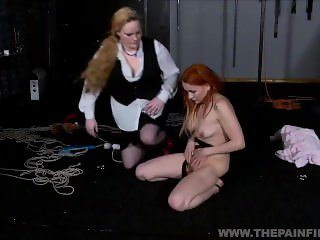 Dirty Marys lesbian bondage and electro bdsm of redhead slave in femdom dom