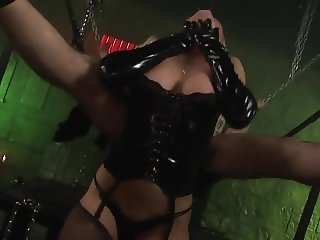 Blonde Mistress in Latex Pleases Her Slave!