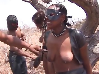Huge titted ebony slaves are doing it