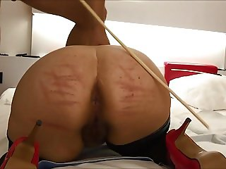 Hairy German PAWG milf loves whipping