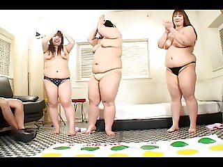 3 Japanese BBW's Play Group Sex Games (Uncensored)